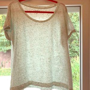 XL Loft white T Shirt with green specks.